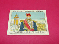 RARE CHROMO CHOCOLAT PUPIER ALBUM AFRIQUE 1938 TUNISIE COLONIES SIDI AHMED BEY