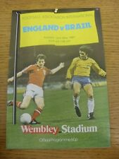 12/05/1981 Jack Wiseman Programme (higher quality paper): England v Brazil [At W