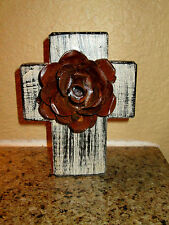 Wall Wood Cross with Iron Rusty Metal Rose Rustic Western Texas Hand Painted