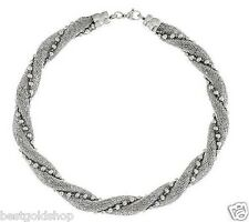 """18"""" Twisted Bead and Mesh Link Chain Necklace Stainless Steel QVC J290005"""