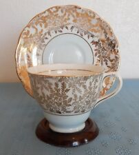 Colclough Tea Cup & Saucer Gold & White w/ Light Blue / Green England