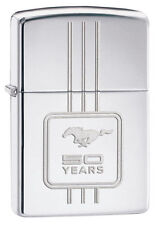 "Zippo ""Ford Mustang 50 Years"" HP Chrome Lighter, ***Flints & Wick***  28542"