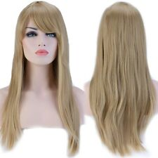 Natural Women Long Wig Cosplay Party Costume Daily Full Straight Wigs ash blonde