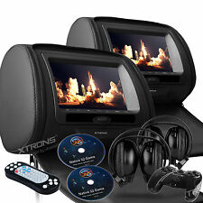 "Black 2x 7"" HD Car Headrest Digital DVD SD Player Pillow Monitor USB IR Headsets"