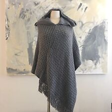 Gray Poncho Shawl Hooded Fringe Medium Knit One Size Boho Lagenlook