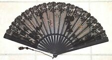 Antique Black Machine Lace & Painted Hand Fan, Ca. 1895, Signed