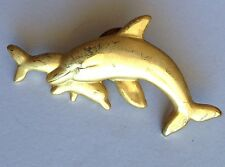 Twin Dolphins Golden Style Small Pin Brooch Rare Vintage (H3)