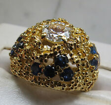 Tiffany & Co. 18kt Yellow Gold Diamond and Sapphire Dome Ring STUNNING!
