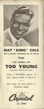CAPITOL ADVERTISING FLYER for nat king cole/les baxter - too young CL 13564