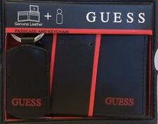 GUESS BLACK LEATHER PASSCASE BILLFOLD AND CHAIN  MEN'S WALLET RED LETTERS