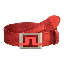 J Lindeberg Men's Size 38 Slater 40 2.0 Striped Webbing Belt Red Reg $95 NEW