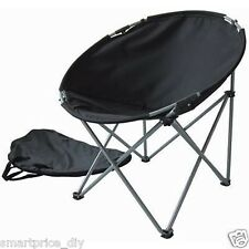 NEW BLACK FOLDABLE ROUND MOON CHAIR CAMPING OUTDOOR GARDEN FISHING CARAVAN & BAG