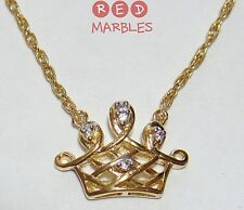 New 925 Sterling Silver Gold Plated Childrens Crown Necklace. CZ Crystals. Girls