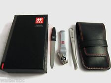 Zwilling J.A. Henckels Manicure 3pc Set Metal Nail Clipper, File, Tweezer Black