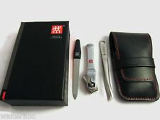 Zwilling J.A. Henckels Manicure 3pc Set Nail clipper, File, Tweezer Leather Case