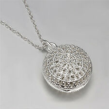 New Women's 925 Silver Plating Round Box Necklace Pendant  HQ