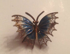 Antique Plique-A-Jour enamel sterling 800 Silver signed BUTTERFLY pin/brooch