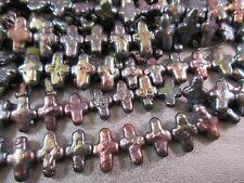 Freshwater Pearl Black Peacock Cross Side Drilled Beads 43pcs