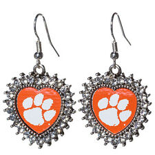 CLEMSON University Tigers  Heart  Shaped LOGO  EARRINGS NEW
