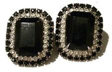 Vintage BLACK & CLEAR CHUNKY RHINESTONE EARRINGS-ESTATE