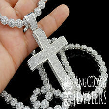 GOLD FINISH LAB DIAMOND HOLY JESUS CROSS CHARM PENDANT FLOWER CHAIN NECKLACE SET