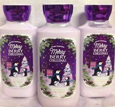 3 Bath & Body Works Merry Berry Christmas lotion vitamin E, B5, aloe