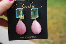 BOUNKIT Convertible Chandelier EARRINGS BLUE TOPAZ & PINK CAT'S EYE