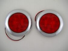 "Red 10 LED 4"" Round Surface Mount Stop Turn Brake Tail Lights / Chrome Bezel"