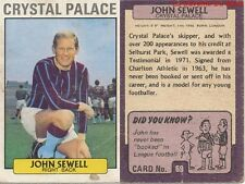069 JOHN SEWELL CRYSTALE PALACE ENGLAND CARD FOOTBALLER 1972 PURPLE BACK AB&C