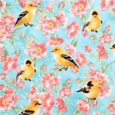 TIMELESS TREASURES YELLOW BIRDS AND PINK FLOWERS ON BLUE COTTON FABRIC BTY
