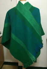 Vintage Green Striped Wool Alpaca (?) Serape Poncho Blanket Wrap Shawl Heavy 48""
