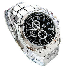 ORLANDO Mens Fashion Stainless Steel Sport Analog Quartz Wrist Watch Silver ZH