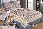 Cornflower Blue French Country Roses Patchwork BEDSPREAD Quilt 3pc set QUEEN