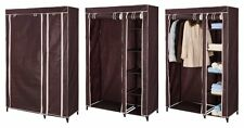 Canvas Double Wardrobe Storage Shelves Hanging Clothes Rail Cupboard Organiser