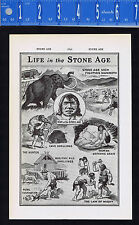 Life in the STONE AGE - Neolithic, Mammoth, Caveman 1937 Page of History