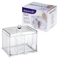 Acrilico Chiaro 4 sezione Trucco Cosmetico Holder ORGANIZER STORAGE BOX CON COPERCHIO