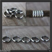 10 Stainless Steel Rings DREADLOCK BEADS 8mm Hole DREAD *NEW* Hair Beads