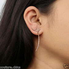 Diamond Pave CRESCENT MOON Fashion Star Dangle Earrings 18 K Rose Gold Jewelry