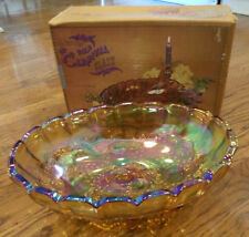 "Vtg Indiana Glass Gold Carnival Fruit Bowl In Box Oval Center 12"" 1198 With Box"