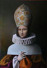 Originale di Antonio Sciacca olio pittura MONNA Lisa Monnalisa PAPESSA METAMORFOSI