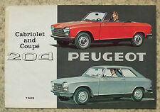 PEUGEOT 204 COUPE & CABRIOLET CAR sales brochure 1969 # 9-68 PP115 go