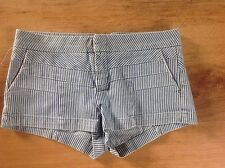 TOPSHOP Blue white Striped Bleached Denim Hotpants Shorts Size 10 BNWT