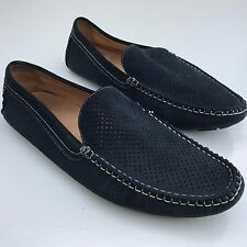 L@@K PAOLO VANDINI MENS BLUE LEATHER SLIP-ON SHOES MOCCASINS UK 8 EU 42