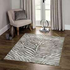 Luxury Natural Beige Animal Zebra rug 3D Look Pile Living Room French