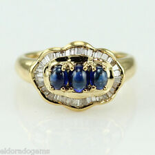 DESIGNER RING 0.45 CT. CABOCHON SAPPHIRE 1.06 CT. DIAMOND 18K YELLOW GOLD US5.75