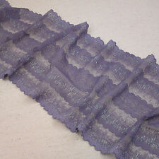 1 Yard Purple Scalloped Stretch Lace Trim For DIY Craft Lingerie Wide 6 3/4""
