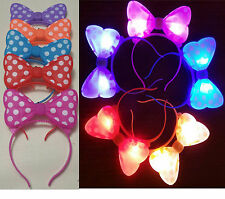 100 PC LIGHT UP MINNIE MICKEY MOUSE EARS BOWS HEADBANDS MULTI COLOR PARTY FAVORS