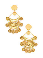 Kenneth Jay Lane Coin Tiered Drop Earrings 22K Yellow Gold Plated Clip On