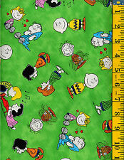 Tossed Charlie Brown on Green ~ Happiness Is ~ cotton fabric Quilting Treasures