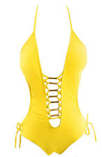 Women's LACE-UP Grommet Front Cut-Out Swimsuit One-Piece - YELLOW - Size 4/6